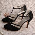 Wedopus MG3011 T cinta-Fechado Do Dedo Do Pé das Mulheres de Renda Preta Sapatos de Salto Alto de Casamento