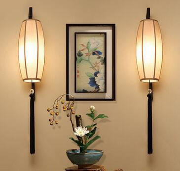New Chinese Style Fabric Brief Bedside Wall Lamp Led E27 Living Room Bedroom Bathroom Decor Lights A020