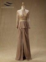 Slovedress High Neck Beach Line Chiffon Evening Dress Full Sleeves Floor Length Evening Gown Vestido De