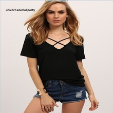 fashion summer womens multi-colored crossover with irregular deep v-neck T-shirt S-3XL harajuku t shirt Women Tops