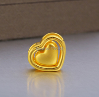 Best Genuine Pure 999 24K Yellow Gold / 3D Heart To Heart Pendant / 2.6g
