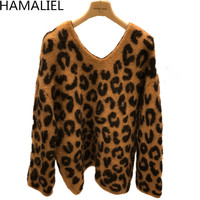 HAMALIEL 2018 Fall Winter Mink Cashmere Sweater Fashion Women Leopard Knitted Jumper Casual Thick Warm V Neck Loose Pullover