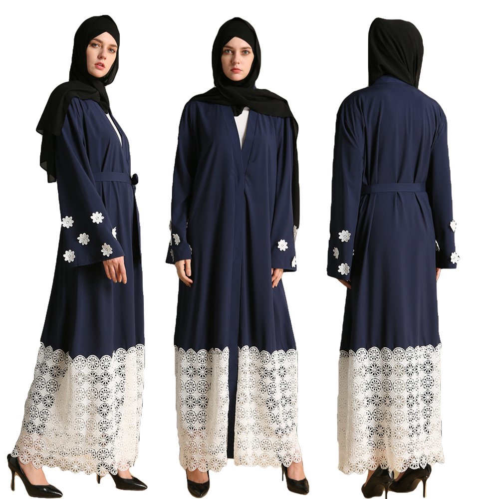 Casual Muslim Maxi Dress Lace Patchwork Long Sleeve Vestidos Abaya Cardigan Robe Women Flower Islamic Dubai Turkey Arab Clothing