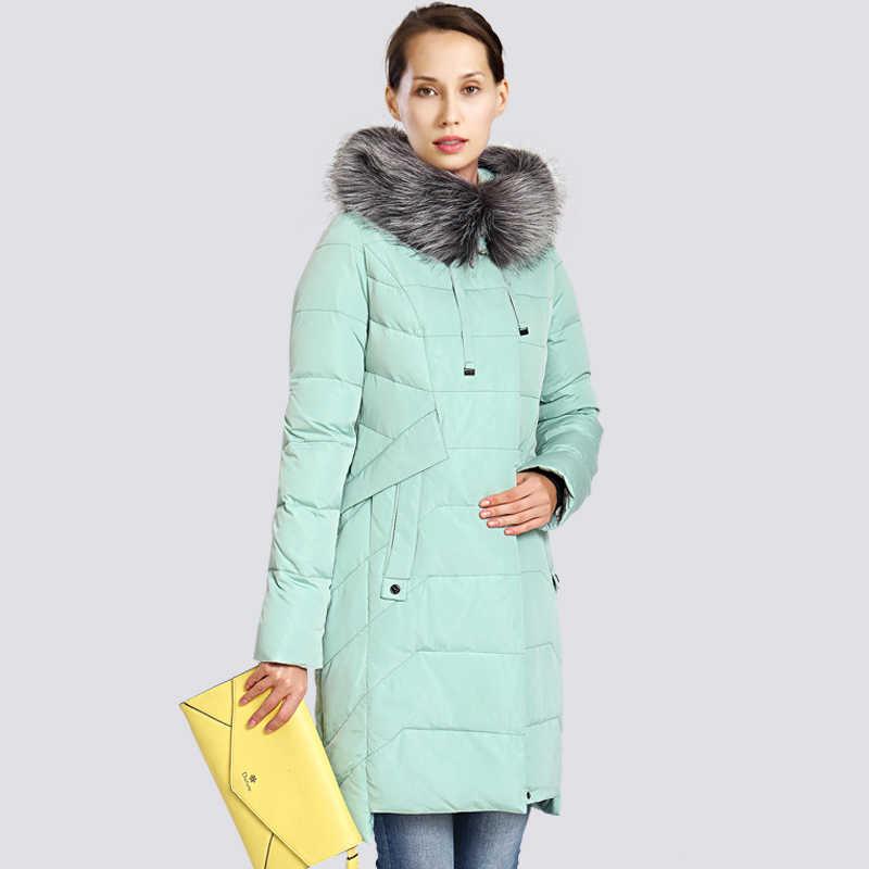 2019 nueva chaqueta de invierno para mujer, de talla grande, con cuello de piel, abrigo largo de invierno para mujer, chaquetas gruesas de alta calidad con plumón, Parka, prendas de vestir