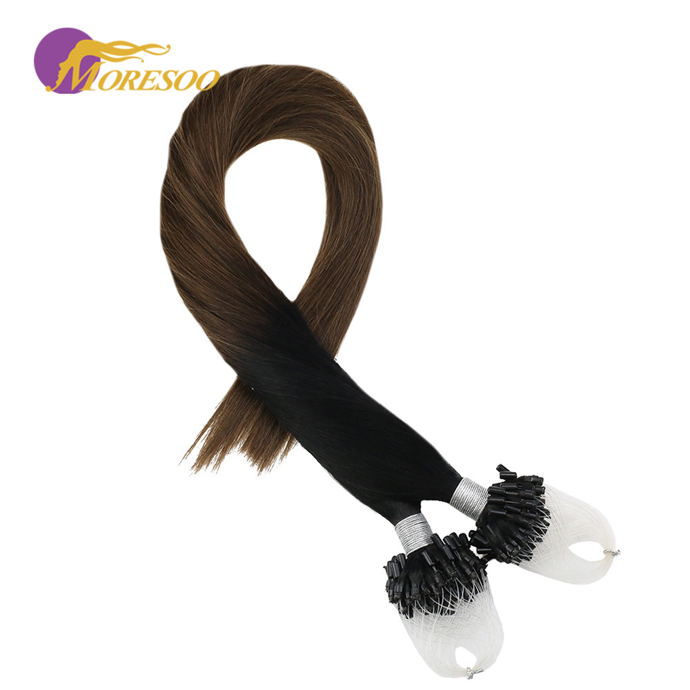 Moresoo Micro Loop Hair Extensions Jet Black #1 Fading To Brown #6 Micro Bead Human Hair Remy Brazilian Extensions 1G/1S 50G