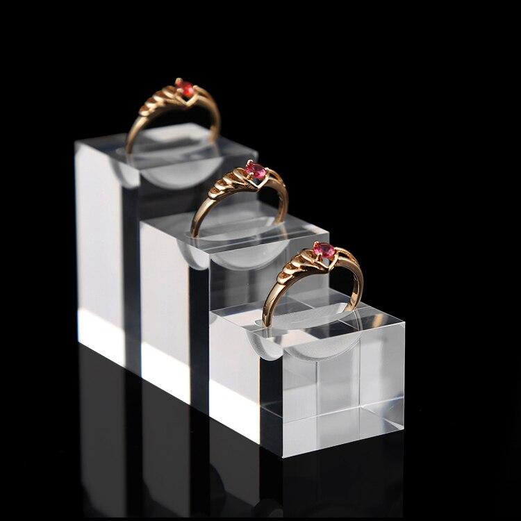 Lot von 3 Klar Acryl Ring Display Halter Ringe Display-ständer Jewelllery Display Halter Ring Schaufenster Acryl Schmuck Halter