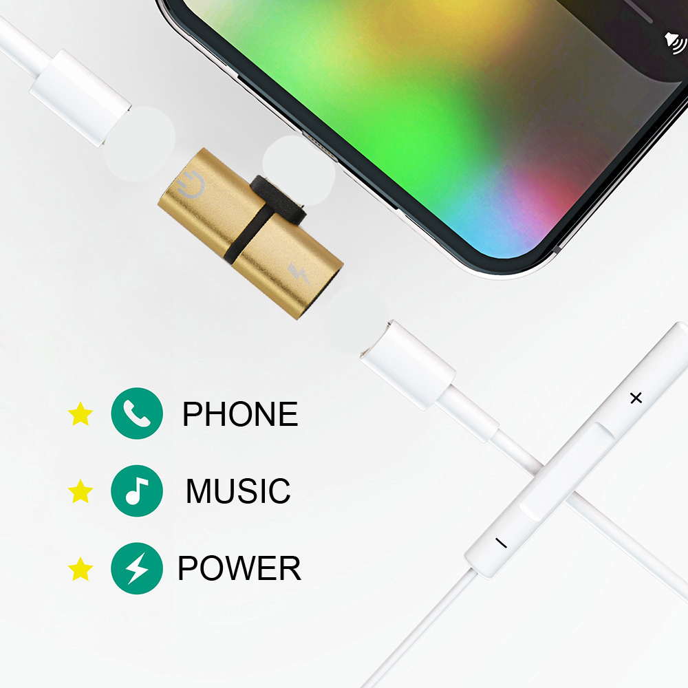 For Lighting Adapter Dual Jack Audio Charging Headphone Cable Charger Splitter Headphone Adapter For IPhone 8 7 Plus X IOS 12.2