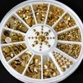 Novo Atacado Tamanhos Mistos Nail Art Decoração Diy 3D Acrílico Glitter Contas de Ouro