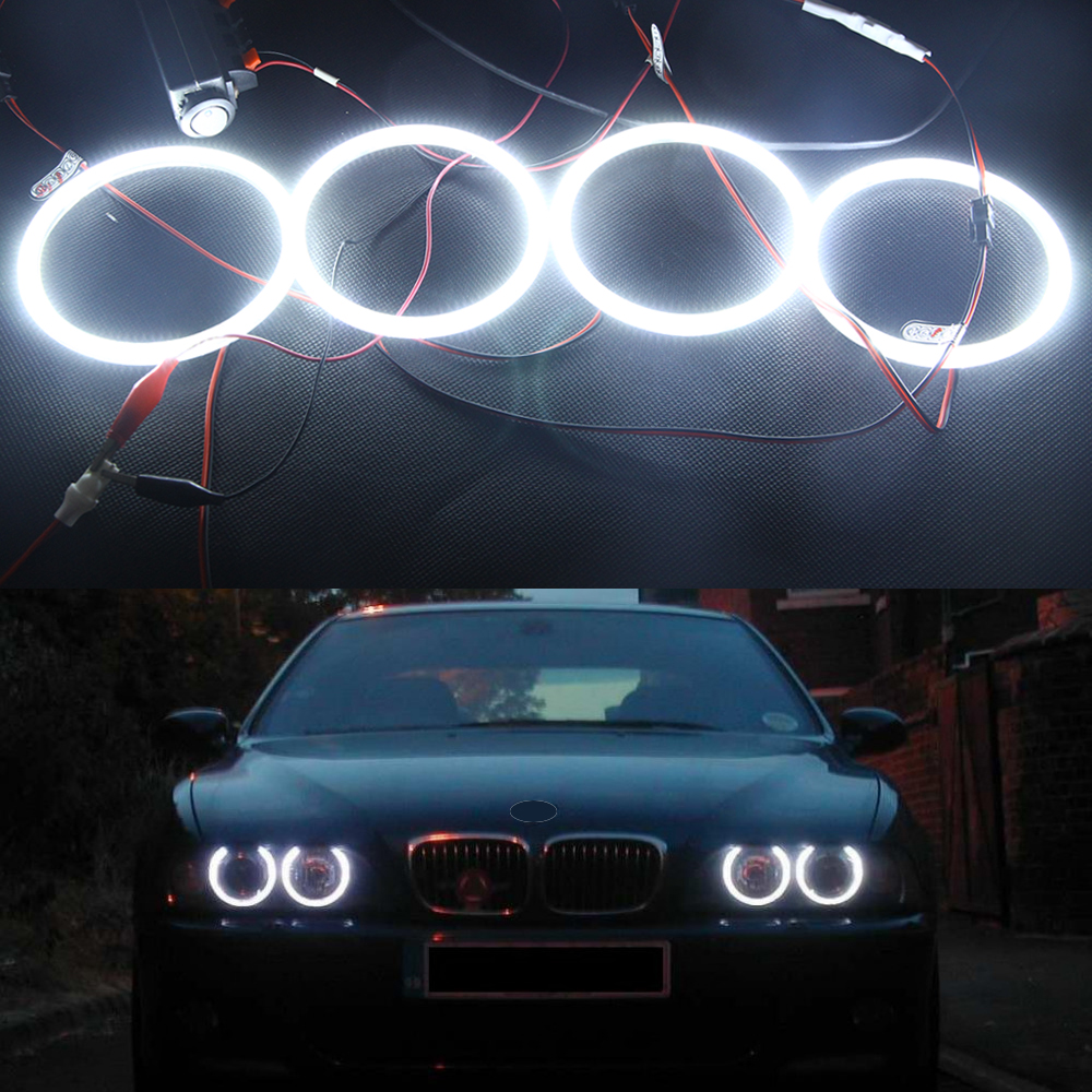4x 120MM Error Free 3014SMD white LED Angel Eye Halo headlight for BMW E30 E32 E34 3 5 7 series 12V Car auto Parking drl kit 5 color car angel eye light halo ring cotton light error free led smd for bmw e90 3 series j 1466