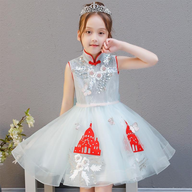 Haute qualité 2018 robe de princesse filles robe d'été nouveau mariage robe de fille de fleur petite hôte robe d'anniversaire tutu