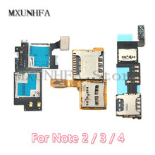Micro SD SIM Card Reader For Samsung Galaxy Note 2 3 4 N7100 N7508V N910F with memory card slot Flex Cable Replacement(China)