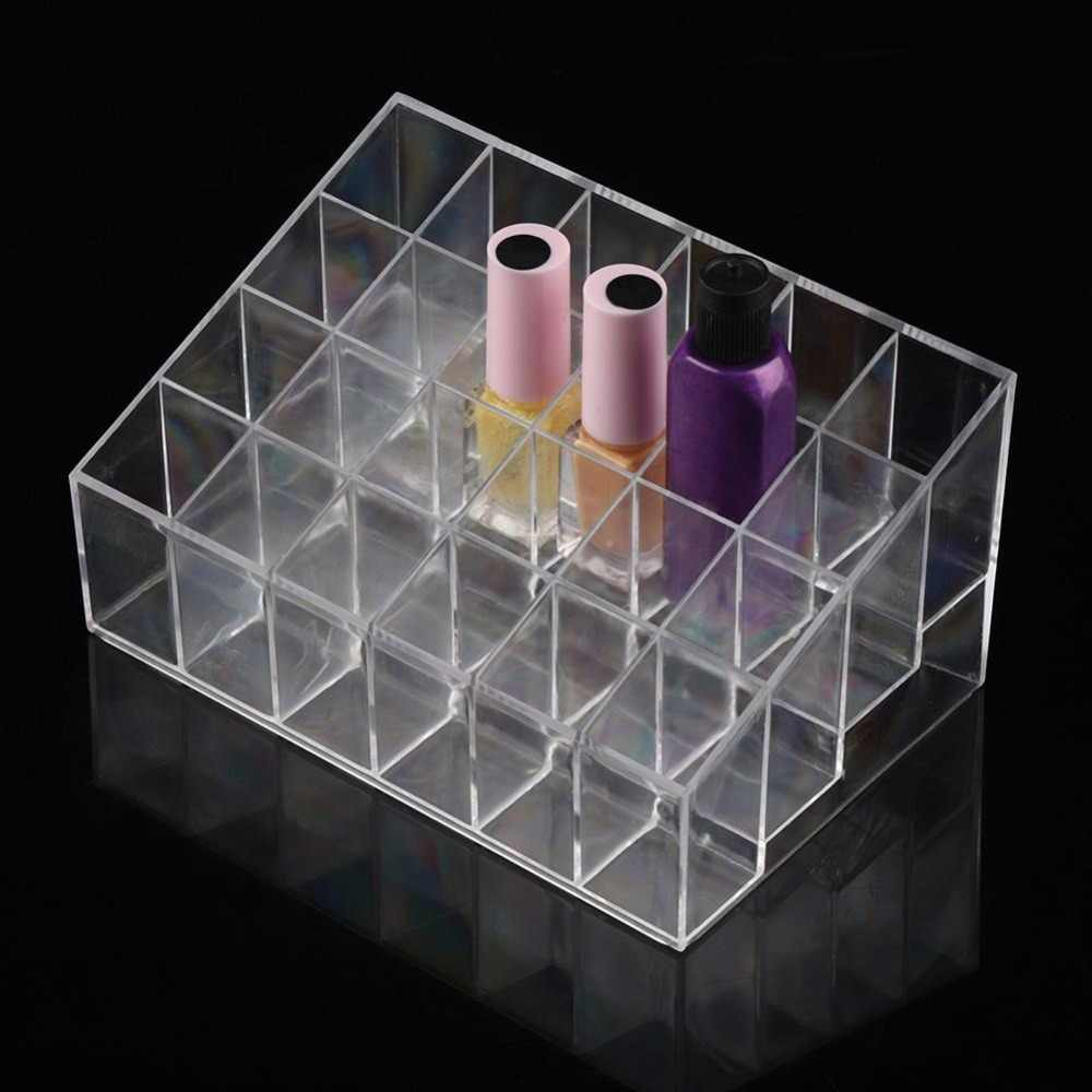Clear Acrylic 24 Lipstick Holder Display Stand Makeup Organizer Transparent Storage Box Cosmetic Nail Gel Jewelry Box Casket