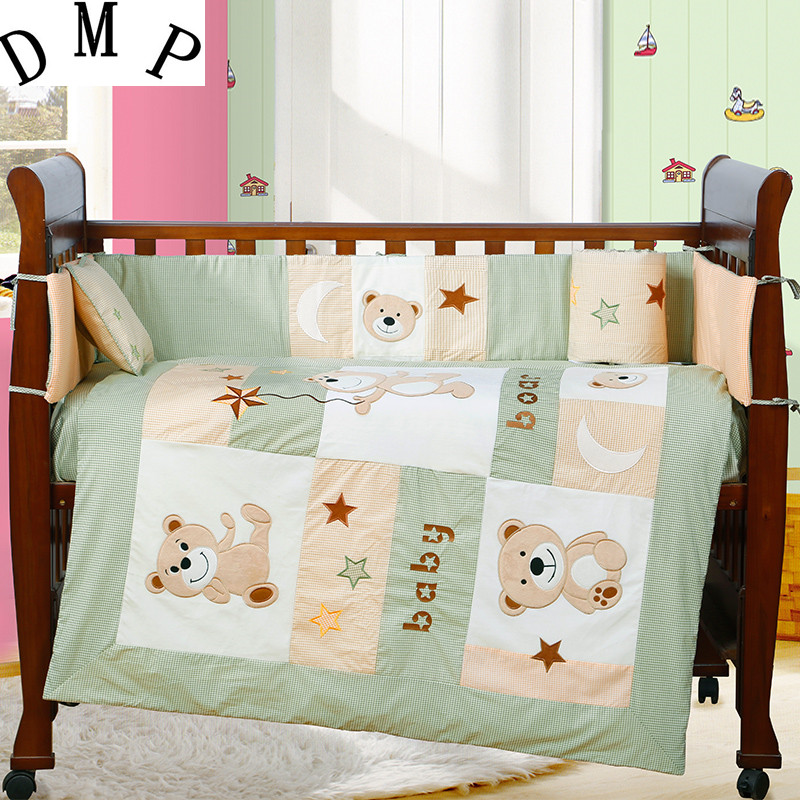 7PCS embroidered baby bedding crib sheet bumper for cot bed crib bed sheet ,include(bumper+duvet+sheet+pillow) простынь swaddledesigns fitted crib sheet turquoise stripe