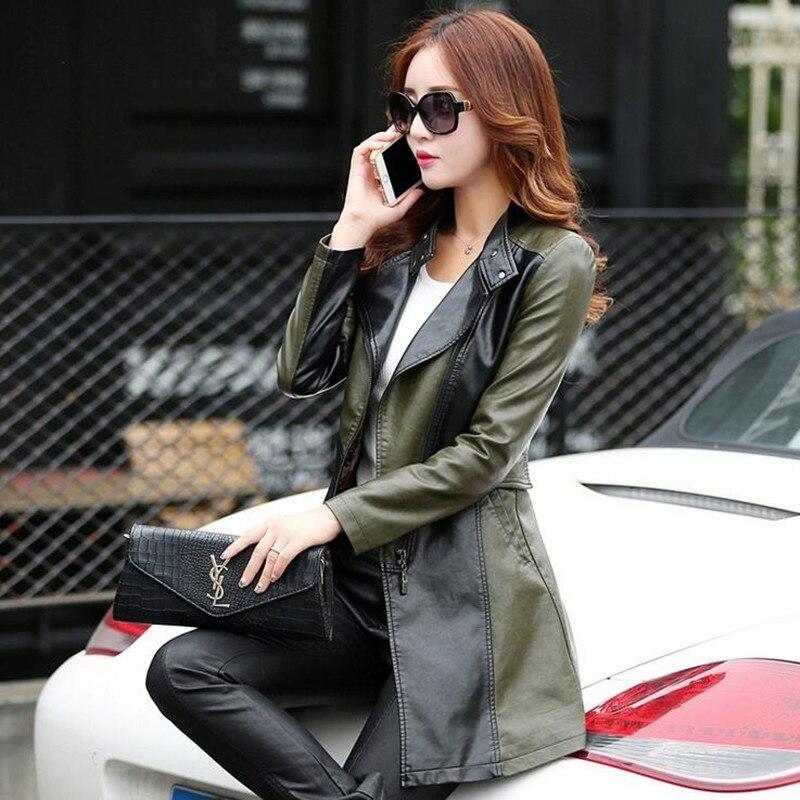 Trench Taille Printemps Automne Grande 2019 Femmes Lavé army Green Zipper Slim Noir Trench Mince Survêtement coat coats Dames Pu En Veste Cuir pAwOqdd