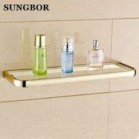 Free shipping Luxury Europe style Antique rose gold finish copper bathroom glass shelf wall shelf 50cm length HY 2213K