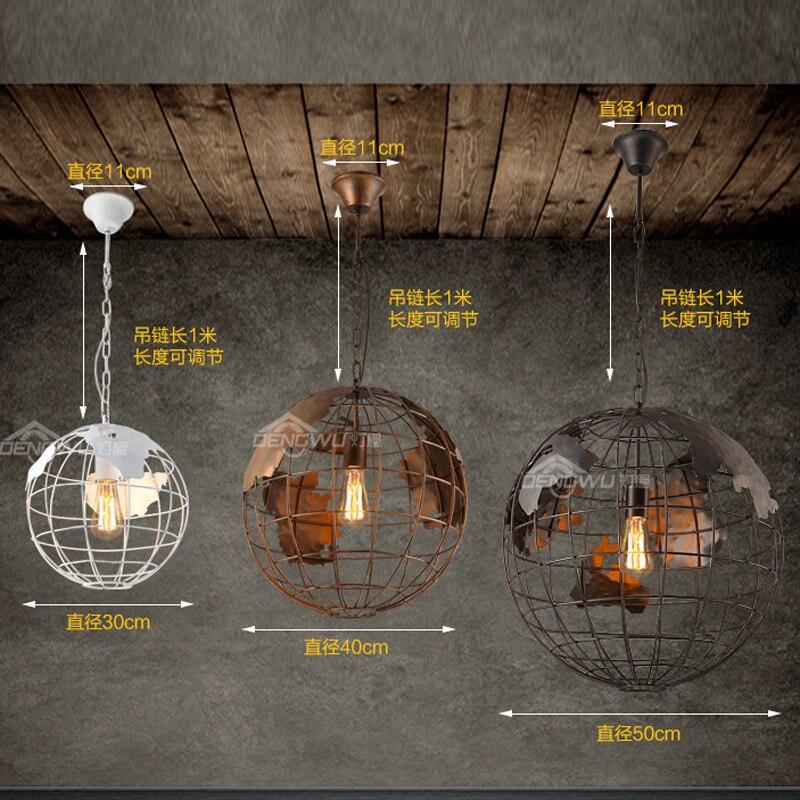 Современный изготовленный из кованого железа люстра в виде земного шара черный/белый цвет подвесные светильники для бара/ресторана полые ш