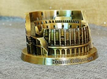 Vintage clássico retro famoso edifício Coliseu de Roma hand-made do ofício modelo de metal para enfeites de decoração de casa bar café