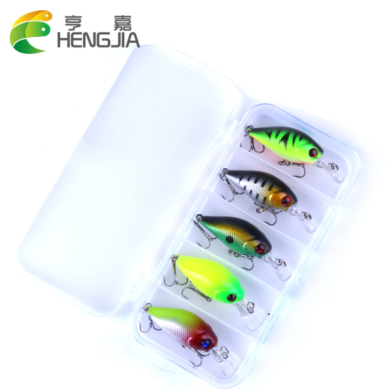 HENGJIA 5pcs 4.2g Fishing Lure set Minnow floating Lure Bait Isca Crankbait Pesca Jig Fishing Hook kit carp Fishing Tackle Box