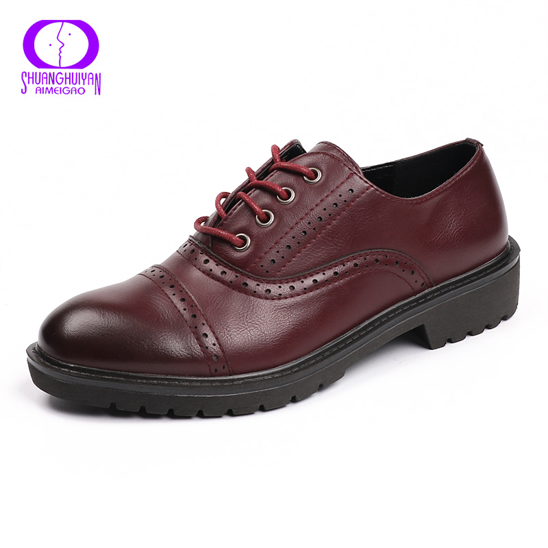 2017 Fashion Woman Spring Autumn Flat Oxford Shoes British Style Vintage Shoes Soft PU Leather Red Casual Retro Brogues 1