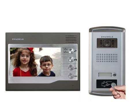 ZHUDELE FRID Panel Home Security 7 Video Door Phone Intercom Doorbell+700TVL HD IR Camera with Waterproof Cover 1V1