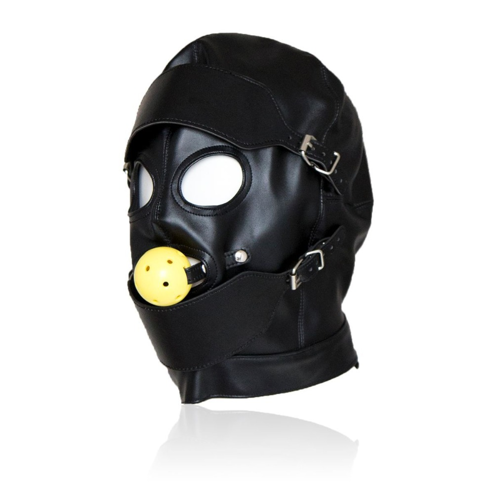 Black Sex Masks Fetish BDSM Leather Mouth Eye Slave Hood Ball Gag Sex Product Toy Bondage Sex Masks For Couple Men Women