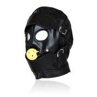 Black Sex Masks Fetish BDSM Leather Mouth Eye Slave Hood Ball Gag Sex Product Toy Bondage Sex Masks For Couple Men Women