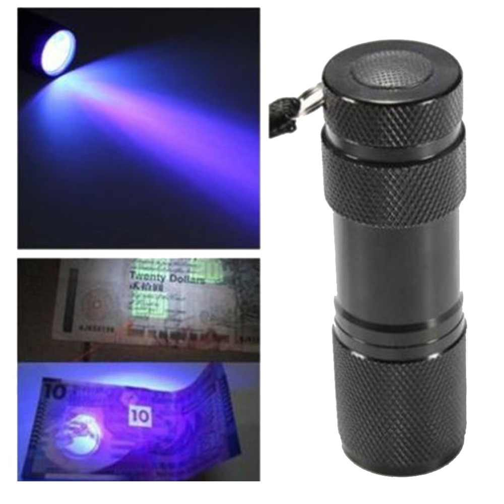 9 LED UV Ultra Violet Blacklight Black Mini Aluminum Portable Lights   UV Flashlight Torch Light Lamp flashlight