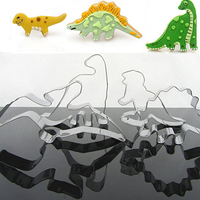 4 Pcs Dinosaur Shape Stainless Steel DIY Molds Baking Cookie Moulds