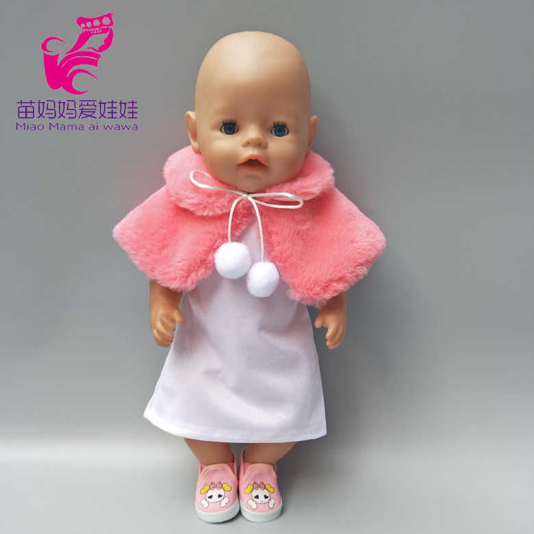 835bb7a6bf For 43cm Baby doll evening dress fur shawl set for 18 inch girl doll  outfits children play gitt