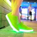 Zapatos Mujeres Moda de Encaje Hasta Cuatro Estaciones Zapatos Luminosos Led Resplandeciente Marca Tenis Llevó Zapatos de Las Mujeres Zapatos de Mujer Planos Ocasionales