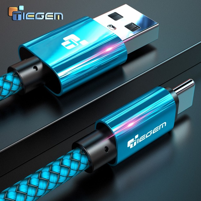 TIEGEM USB Type C Cable for One Plus 6 5t Quick Charge QC3.0 USB C Fast Charging USB Charger Cable for Samsung Galaxy S9 S8 Plus