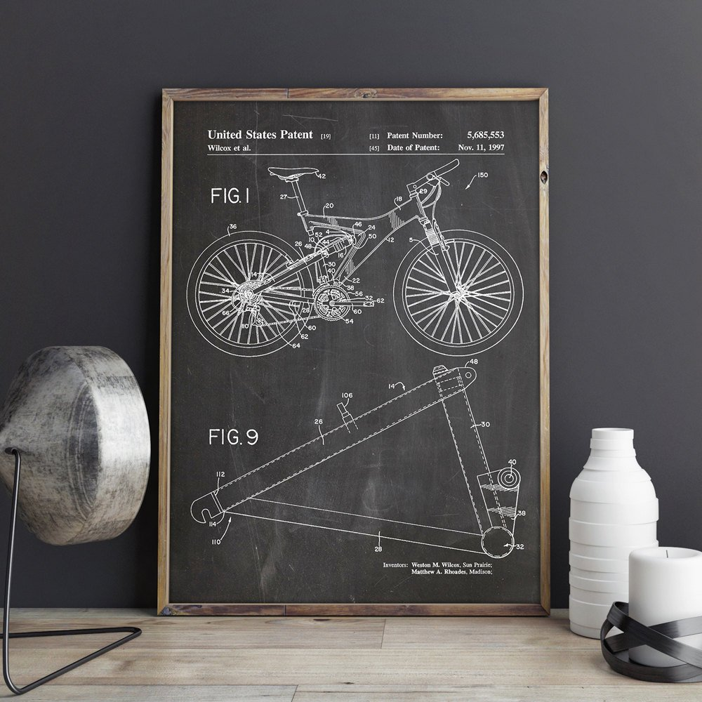 Mountain Bike Patent Cycling Artwork Bicycle Wall Art Bike Posters Room Decor Print Blueprint Gift Idea Wall Decorations
