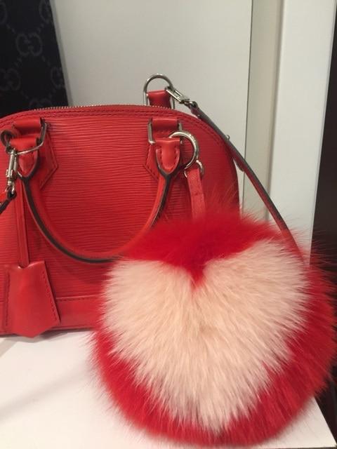 Love Bag Charm Luxury Fox Furry Red Pink Heart Key Chains Pompom Keyring Handbag