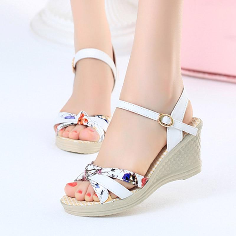 Romeetse Wedges Sandals Flower-Print High-Heels Peep-Toe Mujer Platform 7434