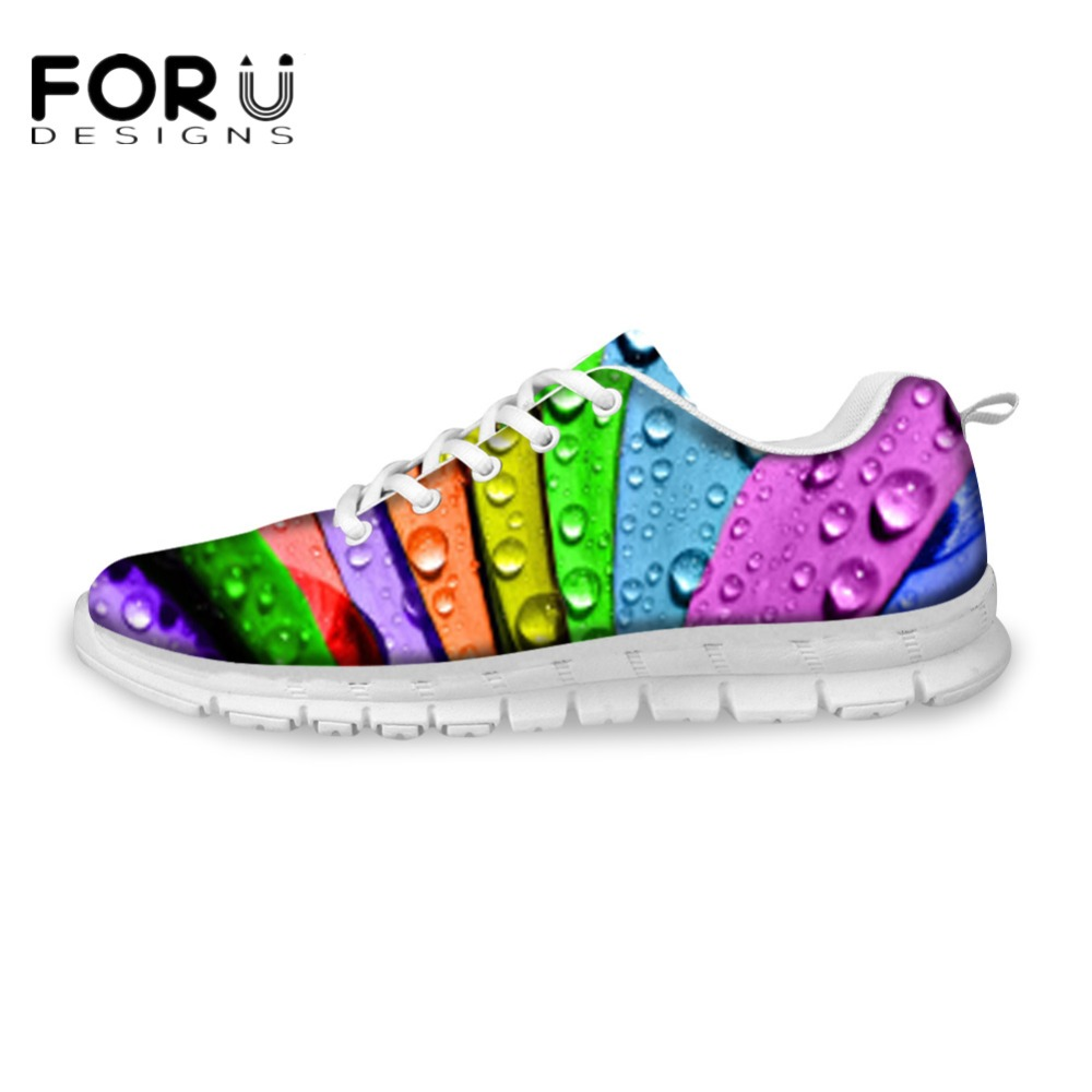 FORUDESIGNS 3D Printing Ladies Autumn Summer Breathable Mesh Shoes Flats Women's Fashion Casual Flat Shoes Lace-up Leisure Shoe forudesigns cute animal dog cat printing air mesh flat shoes for women ladies summer casual light denim shoes female girls flats