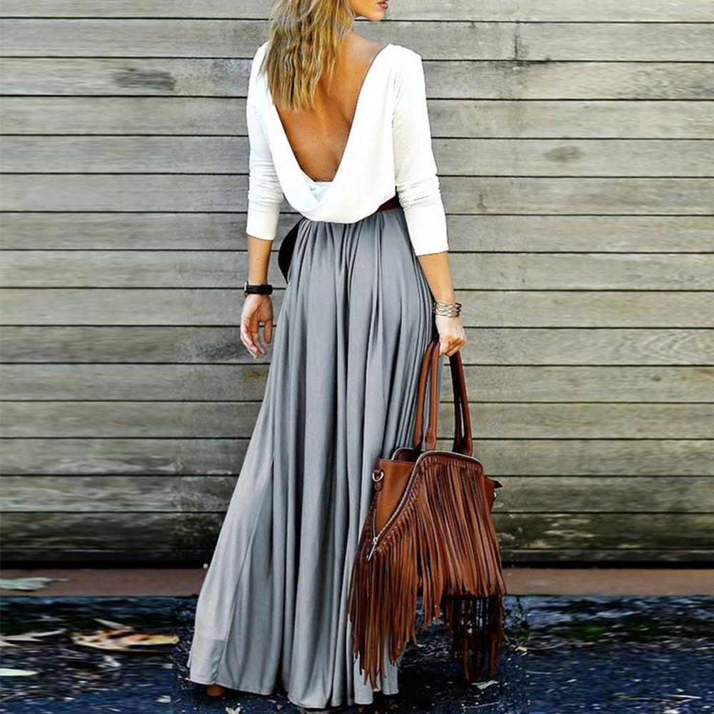 2018 Spring Autumn Long Skirt Summer Women Casual High Waist vintage Retro Pleated Long Maxi Skirts