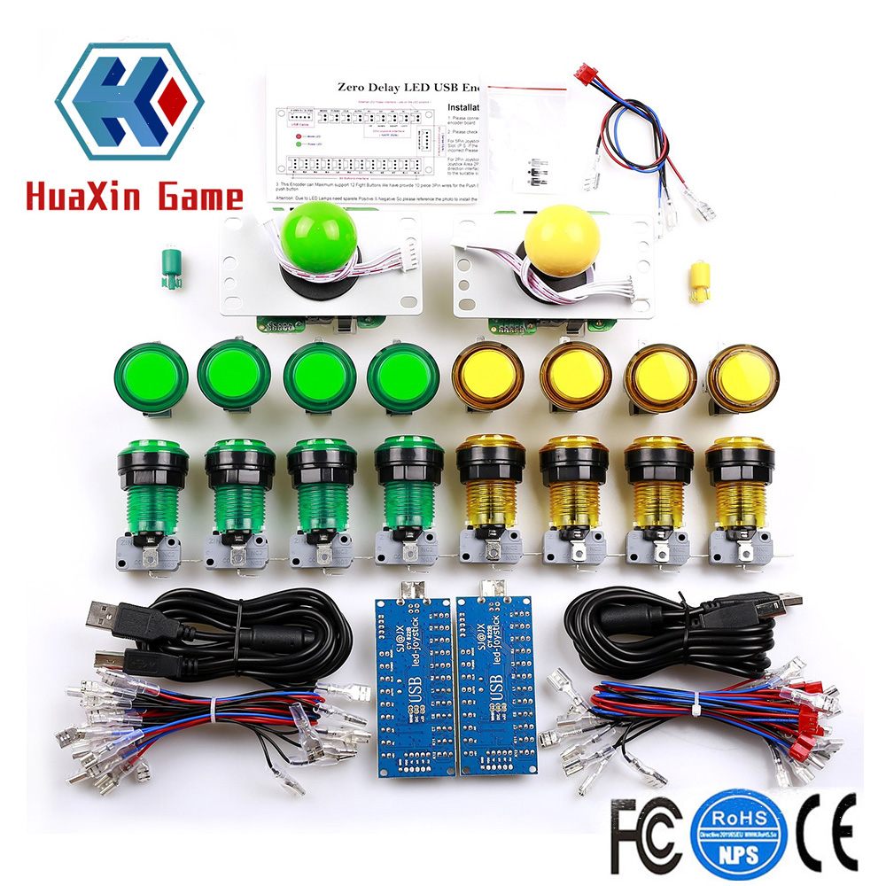 LED Arcade DIY Parts Zero Delay USB Encoder+5pin Joystick+ Ring fixing Illuminated Push Button with Microswitch For Raspberry Pi