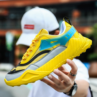 New Cool Men Brand Shoe Designer Yellow Blue Casual Mens Sneakers Mesh Breathable Casual Men Shoes Anti Slip Walking Shoes Youth