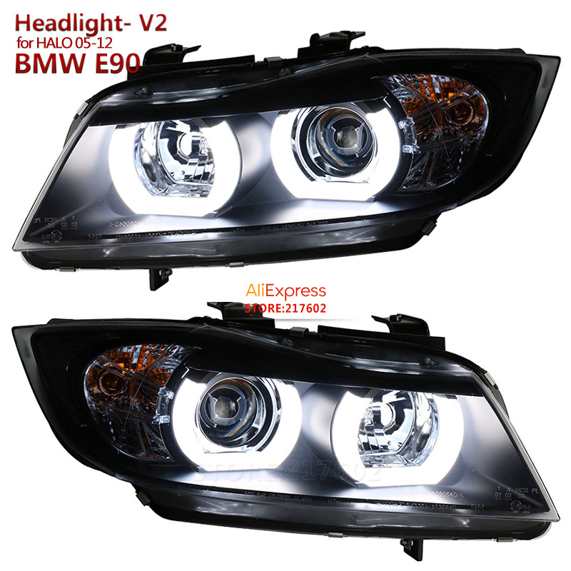 V2 version for <font><b>BMW</b></font> 3 Series <font><b>E90</b></font> 318i 320i 325i <font><b>LED</b></font> Projector lens <font><b>Headlights</b></font> fit 2005-2012 car with Original Halo <font><b>headlights</b></font> image