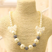 little Girls Black White Stripe Beads Statement Chunky Bubblegum Necklace Imitation pearls Black Bow Knot Gift Kids Jewelry(China)
