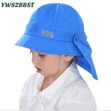 Children Girls Sun Hats Spring Summer Caps with Shawl Cotton Bucket Hat Baby Kids Boy Cap New Fashion 3M-24M