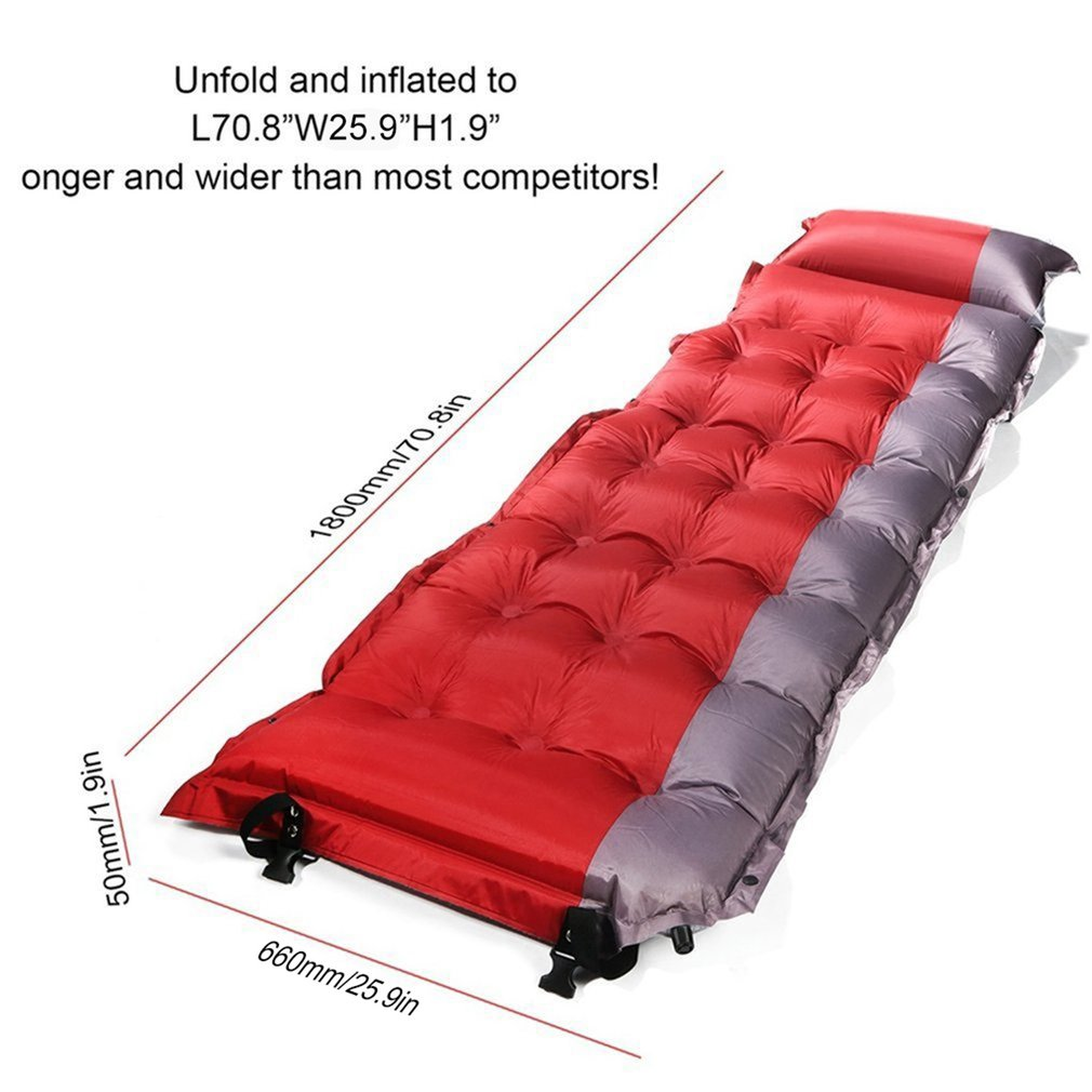 Thicken Self Inflating Sleeping Mat Outdoor Beach Camping Inflatable Mattress Moisture-Proof Pongee Fabric Tent Pad Cushion Warm hewolf 1 people portable thicken outdoor camping tent mat automatic inflatable sleeping pad damp proof splicing beach picnic mat