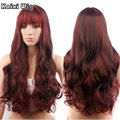 Long Wavy Burgundy Wig Natural Red Wigs For Black Women 28'' Long Freetress Cosplay Wigs Cheap Synthetic Bang Wig Cosplay Hair