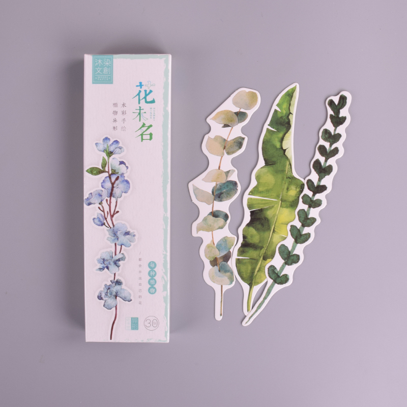 30 Pcs/box New Plants Flower paper bookmark stationery bookmarks book holder message card school supplies papelaria 30pcs set flowers bookmarks message cards book notes paper page holder for books school supplies accessories stationery