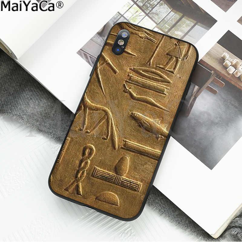 MaiYaCa Cổ Chữ Tượng Hình Ai Cập Thông Minh Màu Đen Mềm Vỏ Ốp Lưng Điện Thoại cho Iphone X XS MAX 6 6S 7 7plus 8 8Plus 5 5S XR
