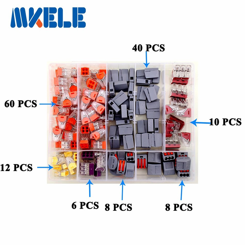 144PCS Wire Connector for 4 room mixed 7 models Compact Fast wire connector mini Wiring Connector Conductors Terminal Block wago