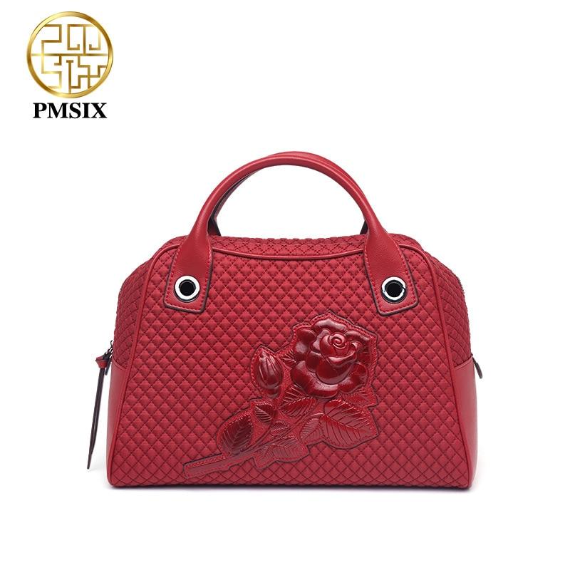 PMSIX 2019 Large Capacity Embossed Floral Canvas Designer Handbags Female Soft Ling plaid Red Women Bags Casual Shoulder Bag