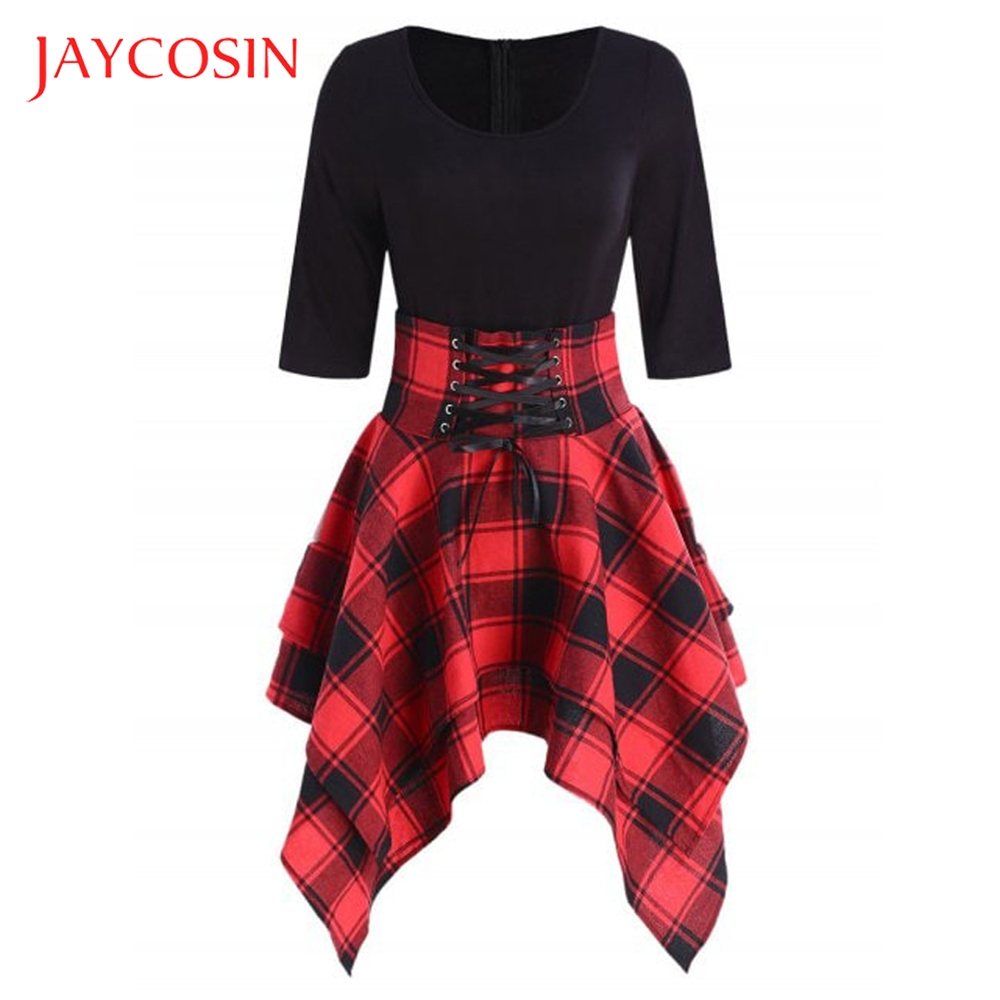 JAYCOSIN O Neck Fashion Casual Lace Up Tartan Plaid Print Asymmetrical Women Mini Dress Paired With Innrech Market.com
