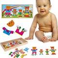 Urso bonito Vestir Puzzle Brinquedo Brinquedos Educacionais Do Bebê Trocar de Roupa para o Urso das Crianças Brinquedo Jogo de Tabuleiro De Madeira 31*14*3.5 cm