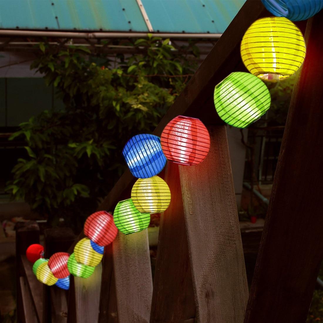 Set of 20 Solar Chines Lantern Fairy Lights Outdoor Solar Lights, 2 Lighting Modes